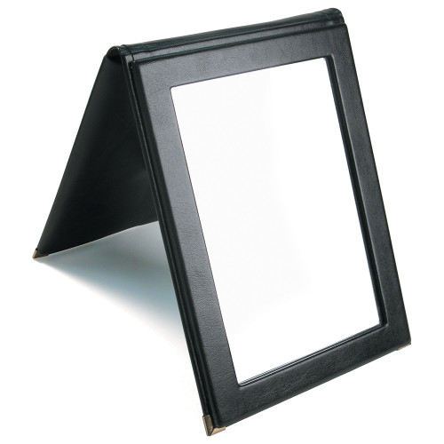 """Folding Glass Mirror, (Snap), 7 1/4"""" x 10""""H, Faux Leather, Choose from various Color"""