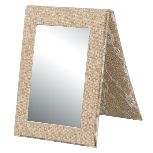 """Folding Glass Mirror, (Snap), 7 1/4"""" x 10""""H,Burlap with Lace"""