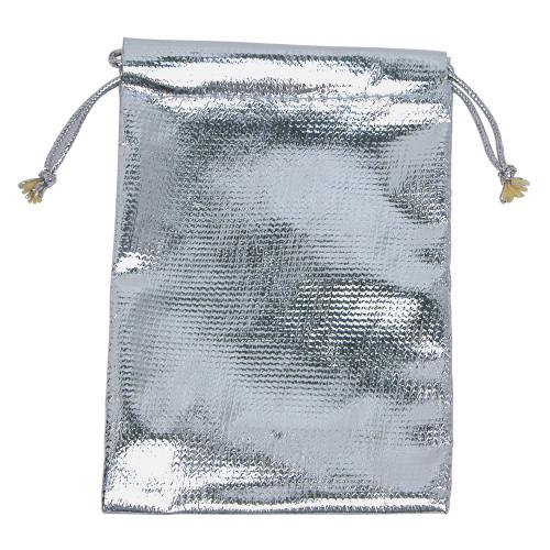 "3"" x 4"", Metalic-Silver Drawstring Pouch, price for Dozen,Buy More Save More"