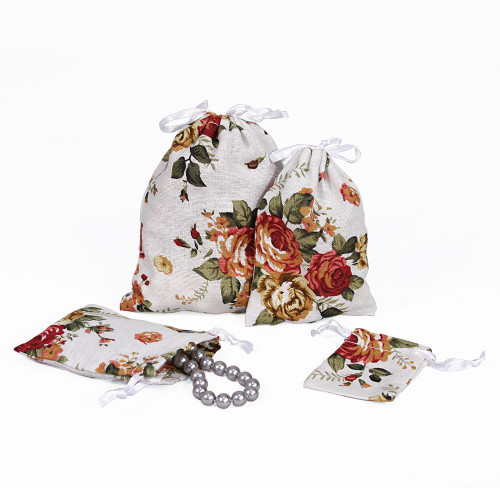 """3"""" x 4"""",White Floral Fabric Drawstring Pouch, price for Dozen,Buy More Save More"""