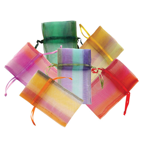 """5"""" x 6"""",Assorted Plaid Organza Drawstring Pouch, Mix 6 Color,price for Dozen,Buy More Save More"""