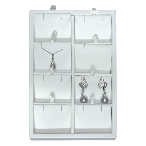 Versatile Showcase Trays ,White Leather, Choose outside and inside styles