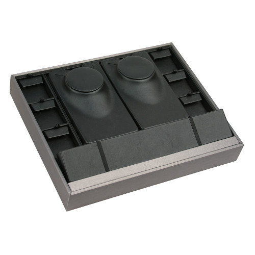 Multi-Function Stackable Trays, Black Faux Leather-Steel Gray Faux Leather