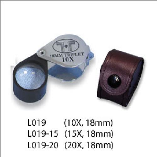 Triplet Glass Lens Loupe, 18 mm, Silver-Black