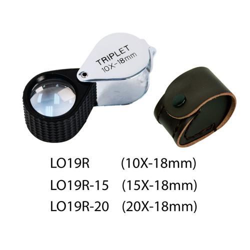 Triplet Glass Lens Loupe, 18 mm, Silver-Black, Rubber Grip
