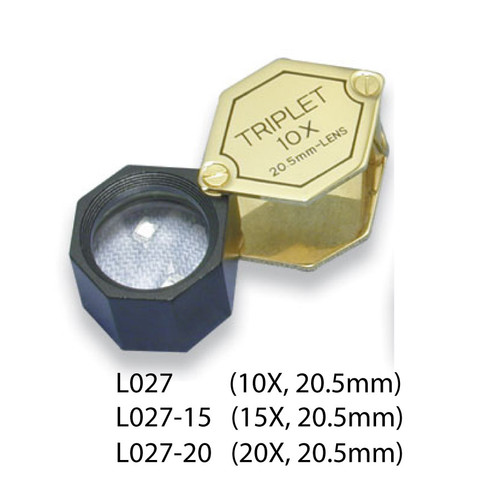 Triplet Glass Lens Loupe, 20.5 mm, Gold-Black