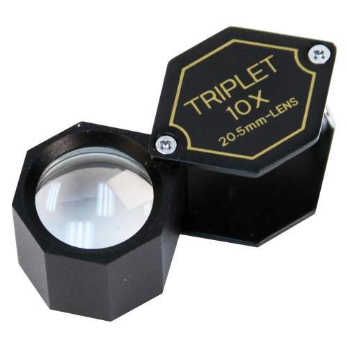 Triplet Glass Lens Loupe, 20.5 mm, Black