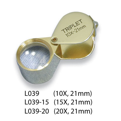 Triplet Glass Lens Loupe, 21 mm, Gold