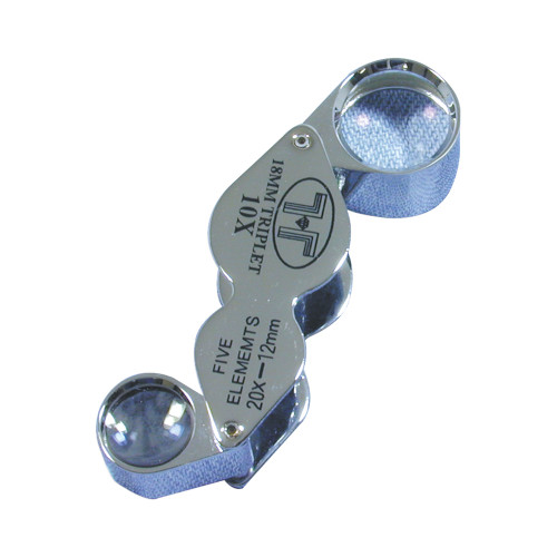Glass Lens Loupe , 18 mm , (10X Triplet , 12 mm) , (20X, 5 Elements), Silver,