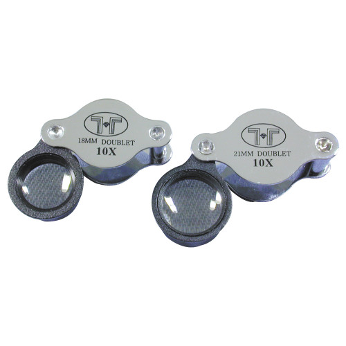 Doublet Glass Lens Loupe, 18 mm ,10X, Silver-Black