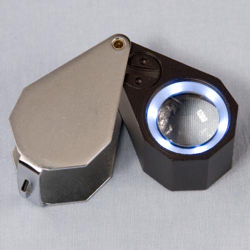 Triplet Glass Lens Loupe 6 LED Lighted , 21 mm, 10X, Silver-Black