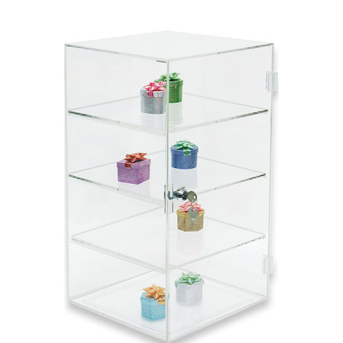 "Acrylic Display Case , 10"" x 10"" x 18 1/2""H, 3 removable shelves"