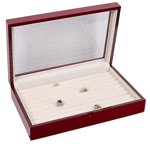 "Glass Top Rosewood Ring/Cuffllink Case, 13 3/4"" x 8 5/8"" x 2 7/8""H"
