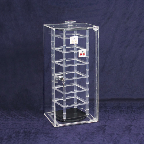 """Acrylic Revolving Earring Display Case , Holds 48 pcs. 2"""" Cards, 8 1/4"""" x 5 1/8"""" x 18 1/2""""H"""