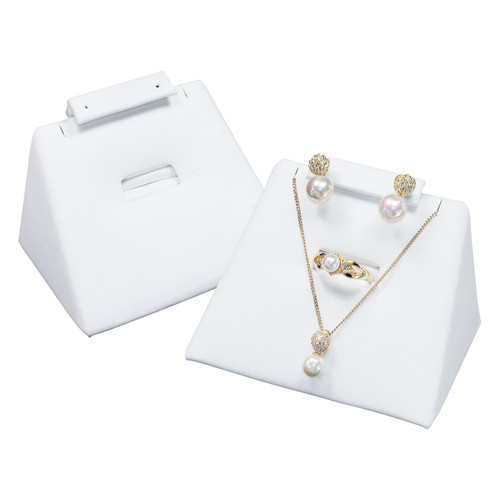 """Combo Display -White Leather, 3.75"""" x 2.5"""" x 2""""H"""