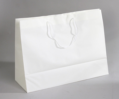 """CLOSEOUT-Off White Frosted Plastic Tote,16"""" x 6""""x 12""""H"""