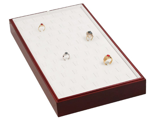 "Stackable 78 Ring Tray - Rosewood with White Leather,18"" x 9 1/2"" x 1 7/8""H"