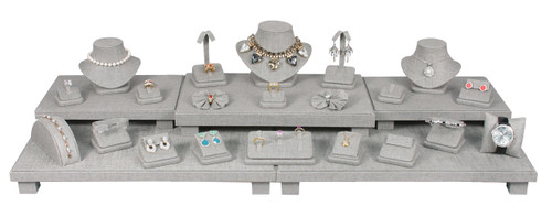 Grey Linen 26-Piece Jewelry Display Set (SET35-N21)