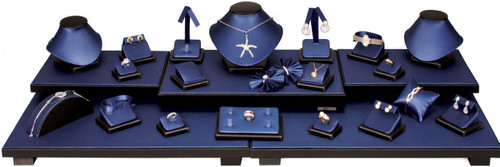 Steel Blue with Black Trim Faux Leather 26-Piece Jewelry Display Set (SET35-R88)