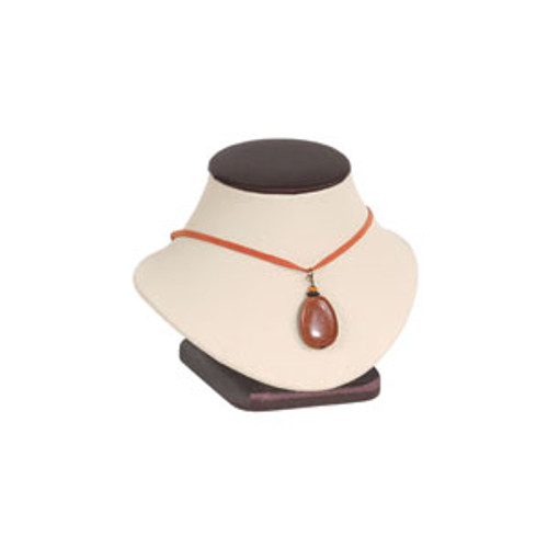 Necklace Display with Beige Faux Leather and Steel Brown Trim (ND312-ND311-L30)