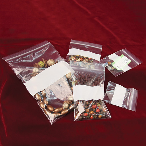 Plastic Zip Bags with White Block (Choose from various sizes), Price for 1000 pcs