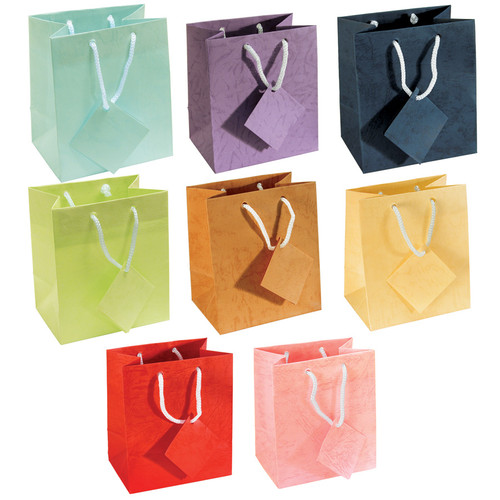 "4"" x 4 1/2""H Assorted Pastel Gift Bags, Assorted 8 Color, Price for 100 pcs"