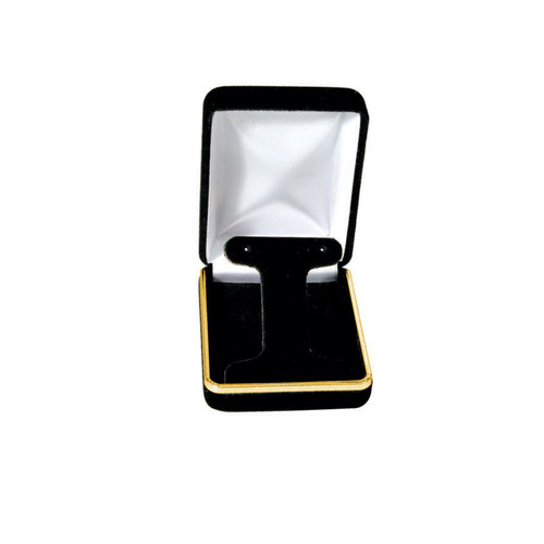 """Velvet Earring Box with Gold Trim, 2 1/4"""" x 3"""" x 1 1/4"""",(Choose from various Color)"""
