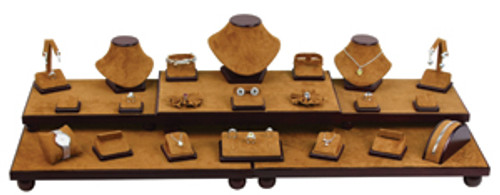 26-Piece Chestnut Suede with Dark Faux Leather Display Set (SET35-75L)