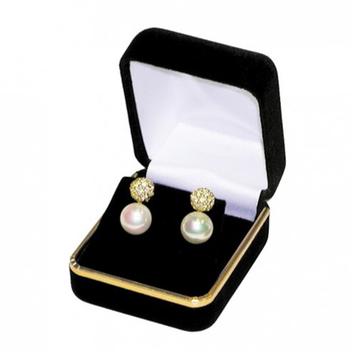 Earring Velvet Box with Gold Trim, 1 7/8'' x 2 1/8'' x 1 1/2''H,(Choose from various Color)