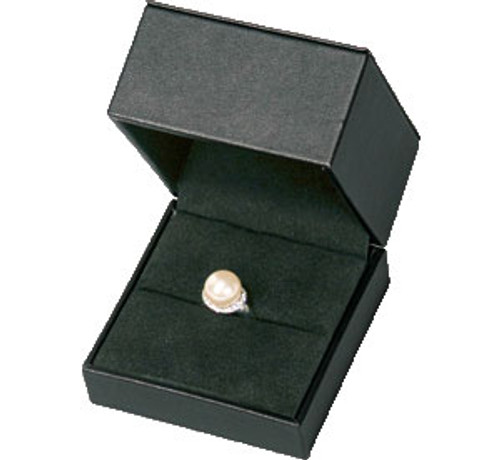 Black Faux Leather Ring Box