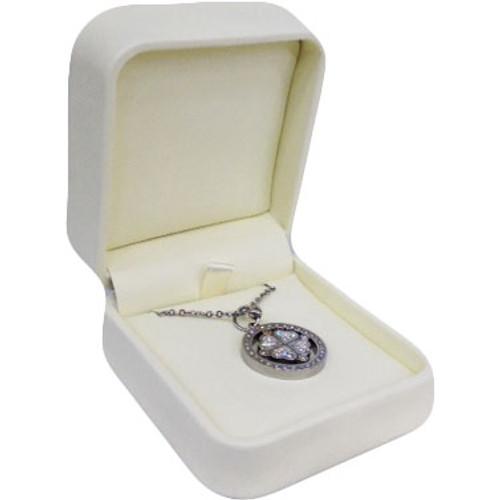 Cream Faux Leather Pendant/Necklace Box