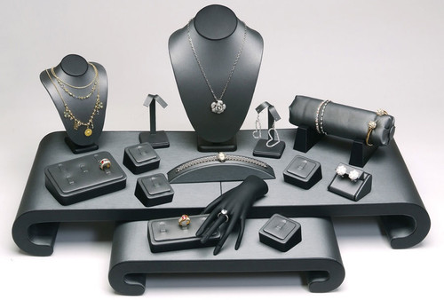"17-Pieces Steel Grey with Black Faux Leather Jewelry Display Set , 30 1/4"" x 22"" x 15 1/4""H"