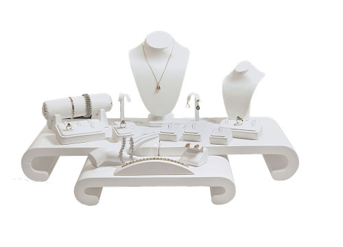 """17-Pieces White Faux Leather Jewelry Display Set , 30 1/4"""" x 22"""" x 15 1/4""""H"""