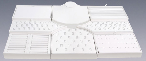 8 Piece White Faux Leather Display Set