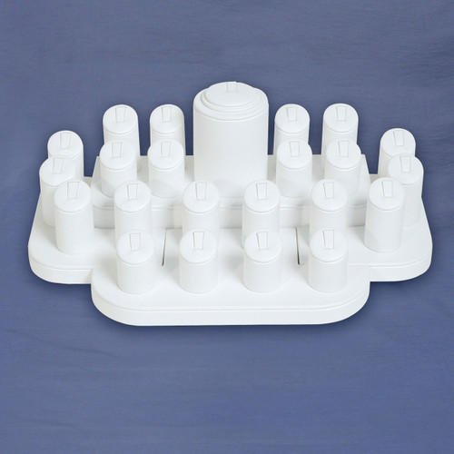 23-Ring Clip White Faux Leather Display