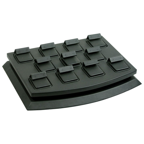 11-Pair Black Faux Leather Stud Earring Mini Display Set
