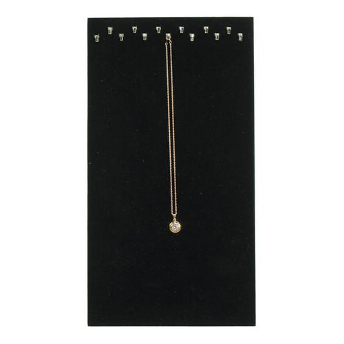 Black Velvet 13-Hook Necklace Display with Easel