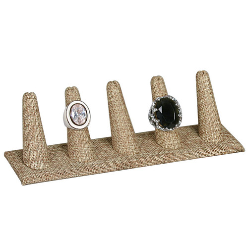 "5-Finger Burlap Ring Display, 8"" x 2 1/8"" x 2 1/2"" H"