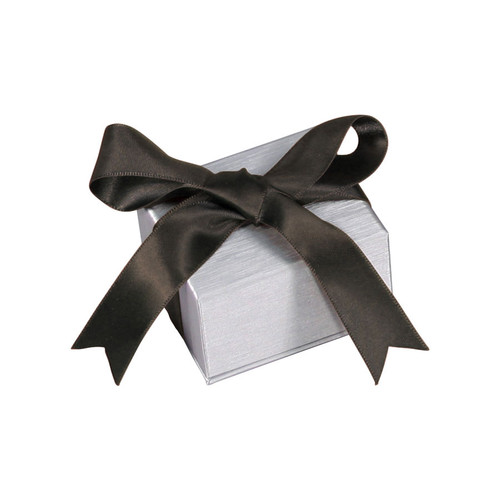 Steel Grey Pendant/Earring Box with Ribbon