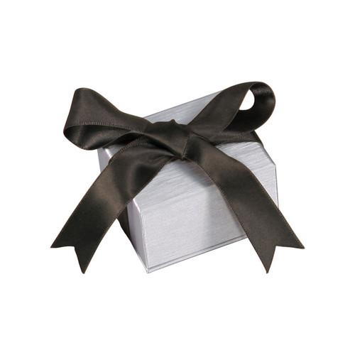 Steel Grey Pendant/Earring Box with Ribbon