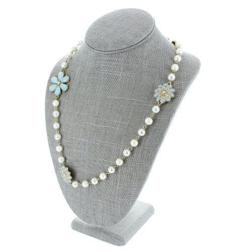 """11"""" Grey Linen Necklace Bust Jewelry Display (ND-1892N-N21)"""