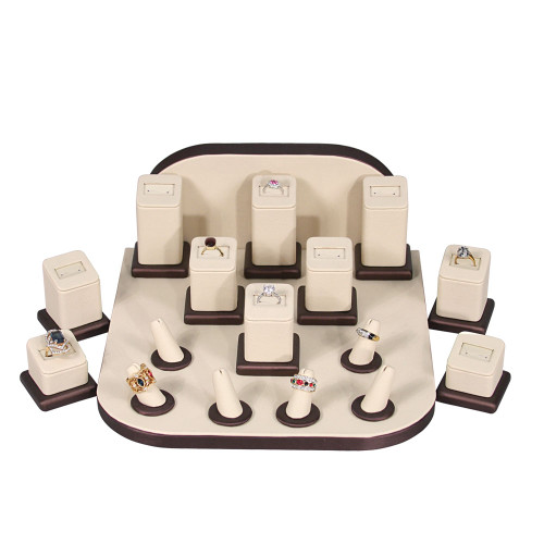 "Display set (beige leather,brush brown trim),18pcs,11x11x5""H"