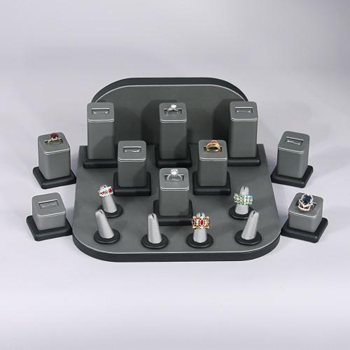 """Display set (steel gray,black trim),18pcs,11x11x5""""H"""