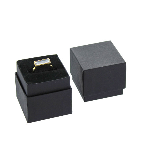 "Ring Box, 1 3/4"" x 1 3/4"" x 1 5/8""H, Matte Black,Price for 100 Pieces."