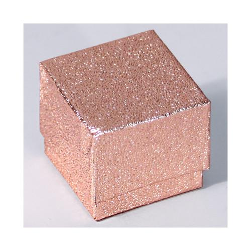 "Ring Box, 1 3/4"" x 1 3/4"" x 1 5/8""H, Rose Gold Foil"