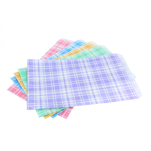 Plaid Assorted 5 Color Paper Bag,1000 pieces(Choose from various sizes)