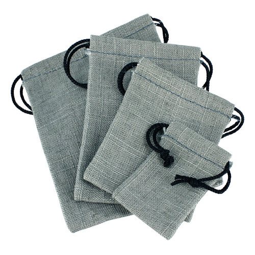 "1 3/4"" x 2"", Grey Linen Pouch, price for Dozen,Buy More Save More"