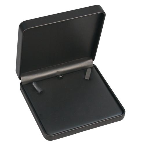 "Round Corner Necklace Box  6 1/8"" x 5 1/2"" x 1 3/8"",Black"