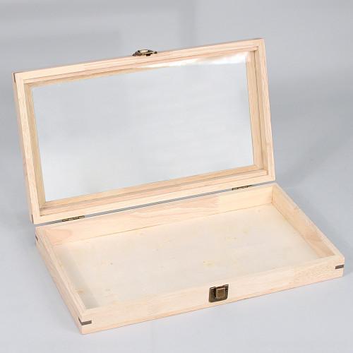 "Glass wood Case, 15 1/8"" x 8 3/8"" x 2 1/4""H"