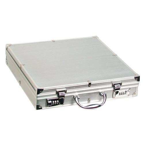 """Large Aluminum attache case, 15 1/4"""" x 15 1/4"""" x 3 1/4""""H"""